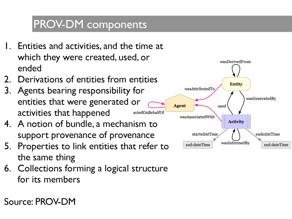 PROV-DM components 1. Entities and activities, ...