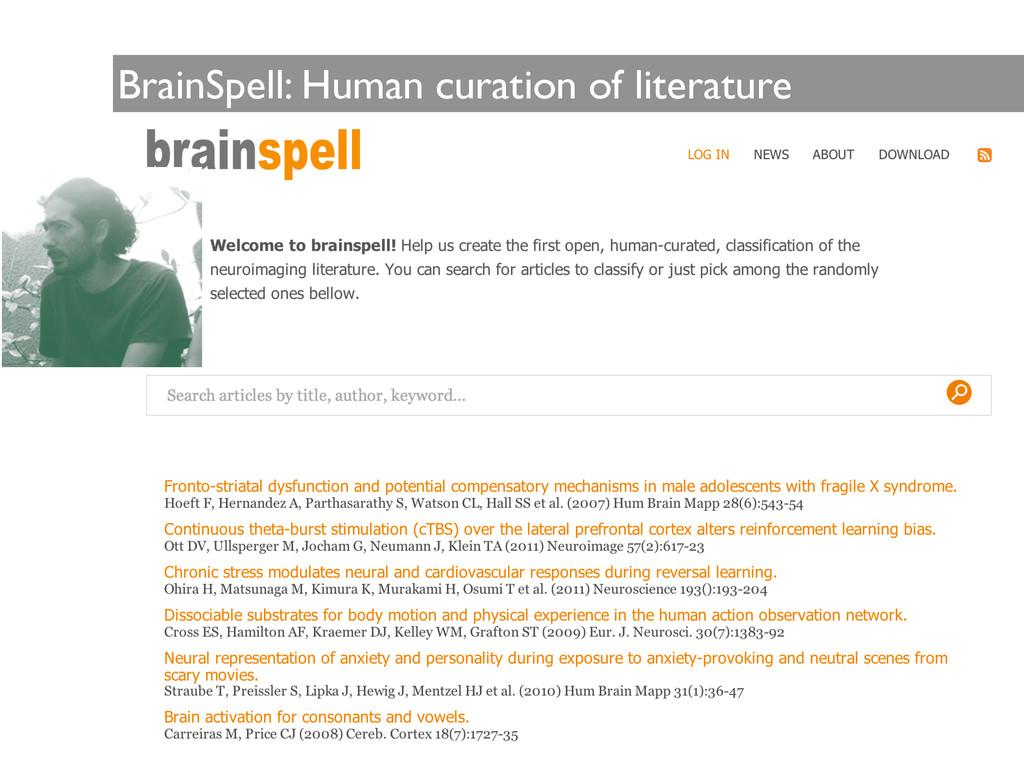 BrainSpell: Human curation of literature