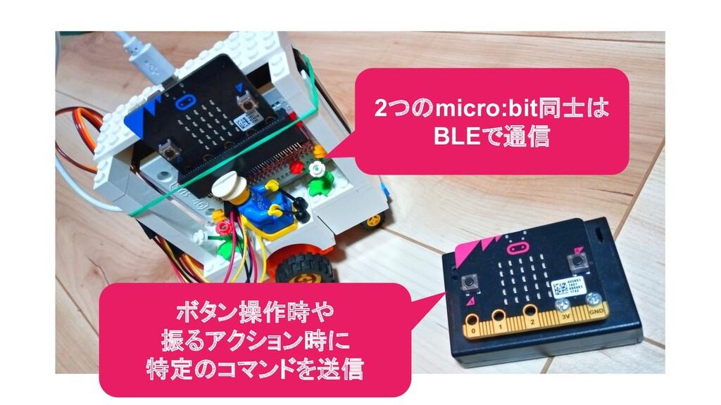 ボタン操作時や 振るアクション時に 特定のコマンドを送信 2つのmicro:bit同士は BL...