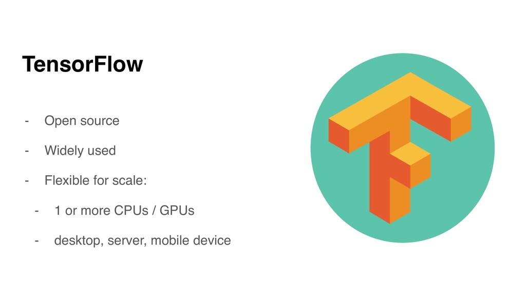 TensorFlow - Open source - Widely used - Flexib...