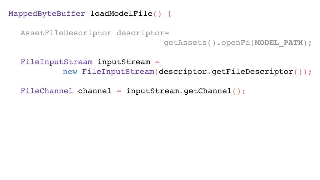 MappedByteBuffer loadModelFile() { AssetFileDe...
