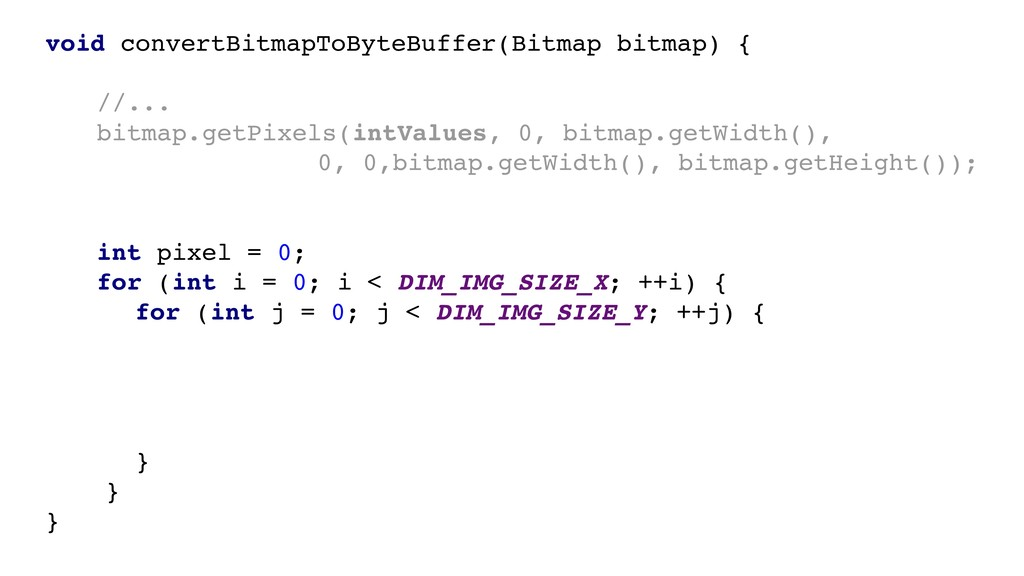 void convertBitmapToByteBuffer(Bitmap bitmap) {...