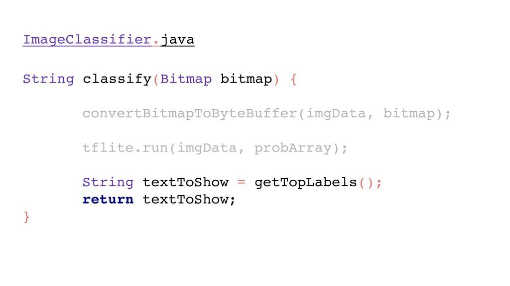 ImageClassifier.java String classify(Bitmap bit...