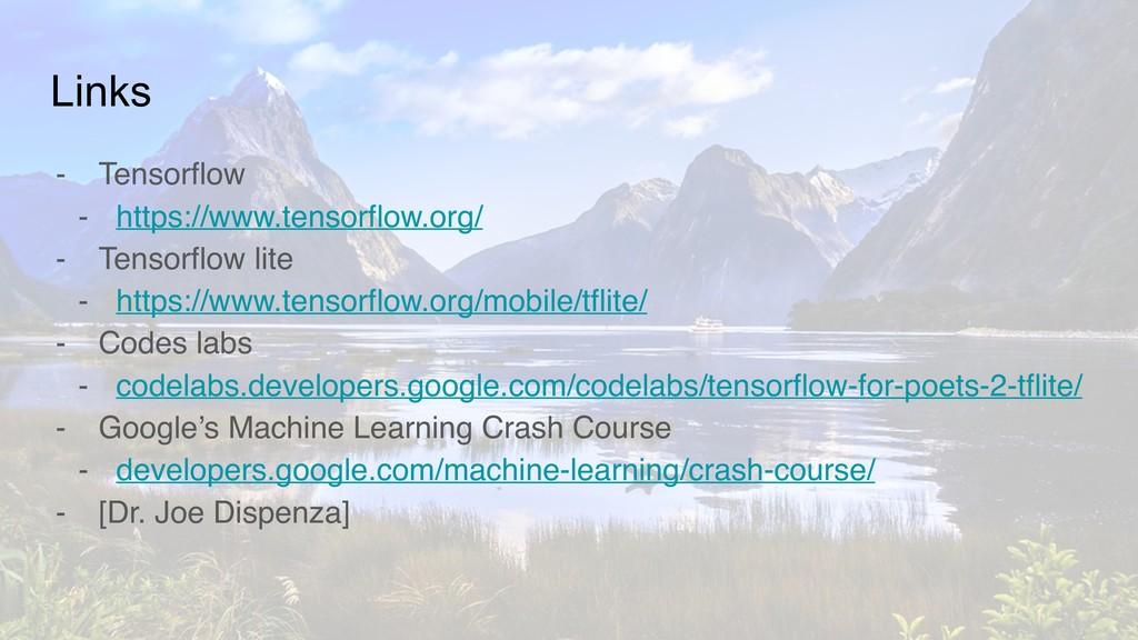 Links - Tensorflow - https://www.tensorflow.org...