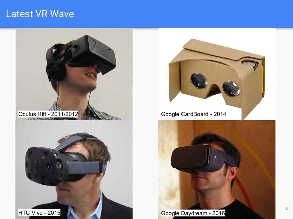 3 Oculus Rift - 2011/2012 HTC Vive - 2015 Googl...