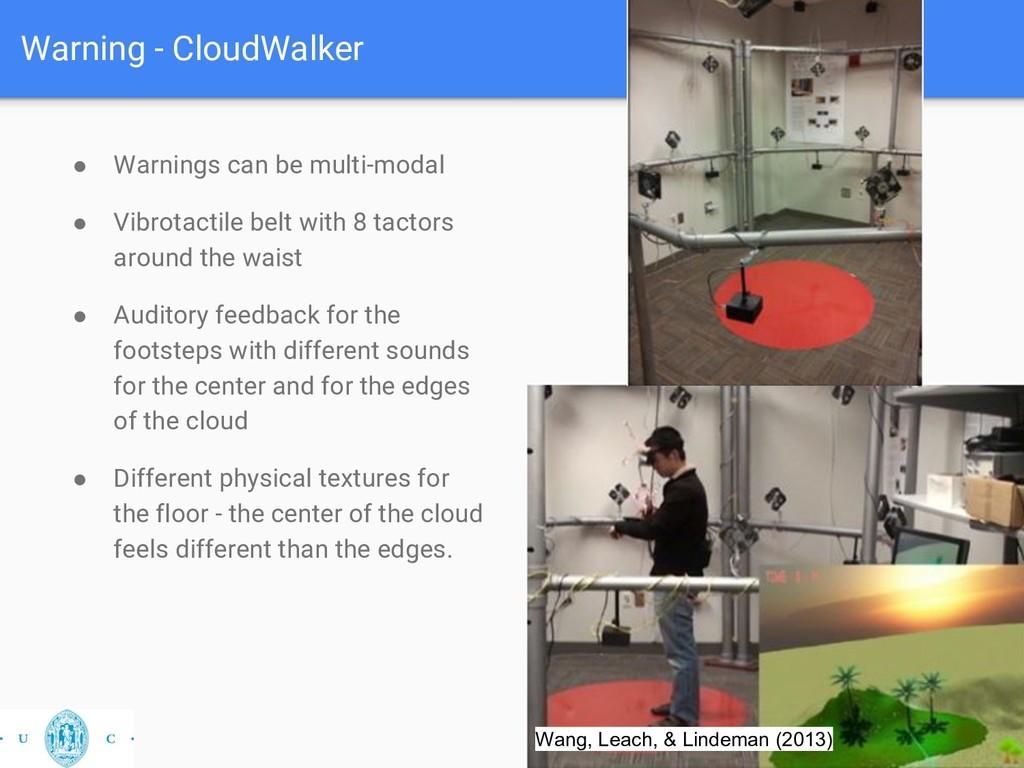 Warning - CloudWalker 22 ● Warnings can be mult...