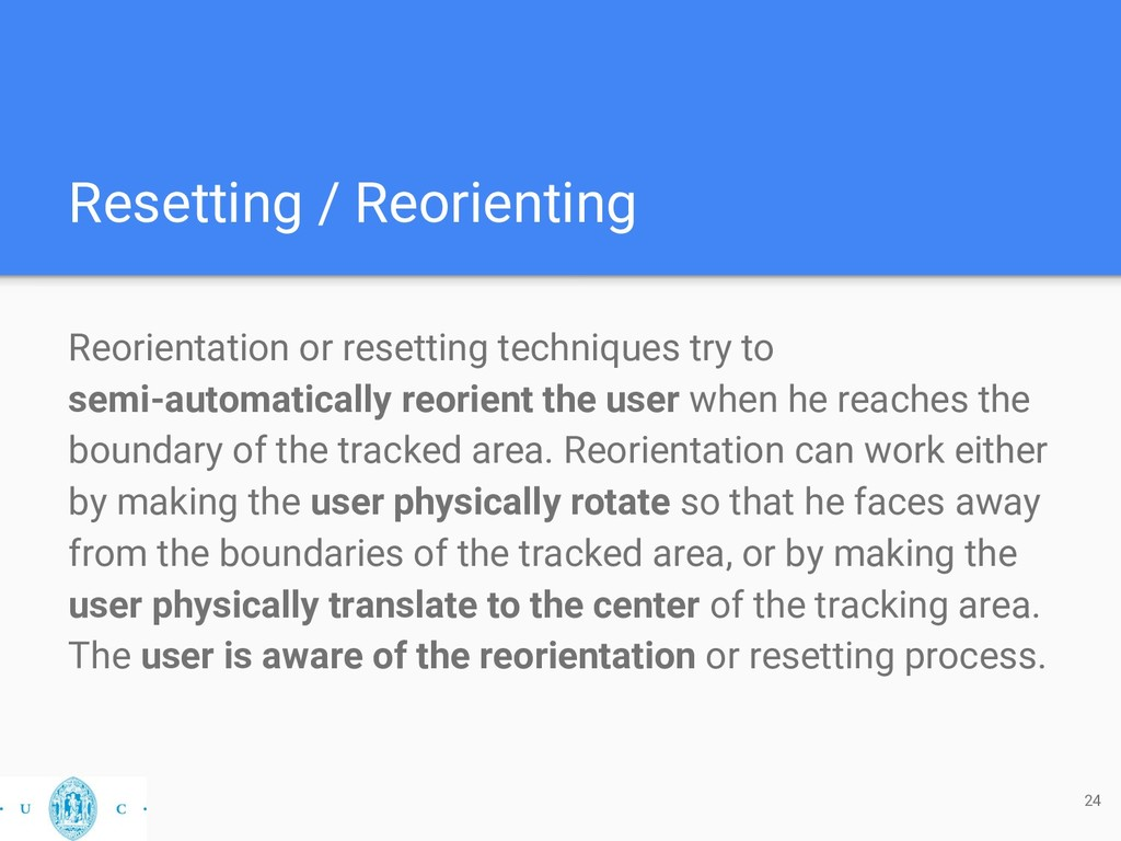 Resetting / Reorienting Reorientation or resett...