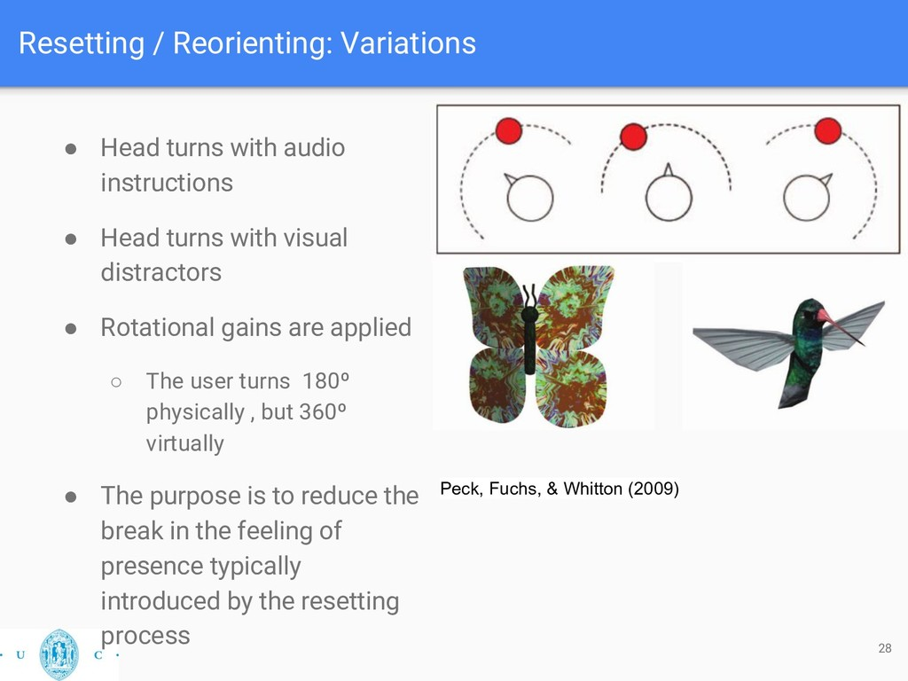 Resetting / Reorienting: Variations 28 ● Head t...