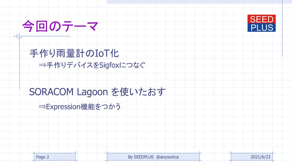 今回のテーマ 手作り雨量計のIoT化 ⇒手作りデバイスをSigfoxにつなぐ SORACOM ...