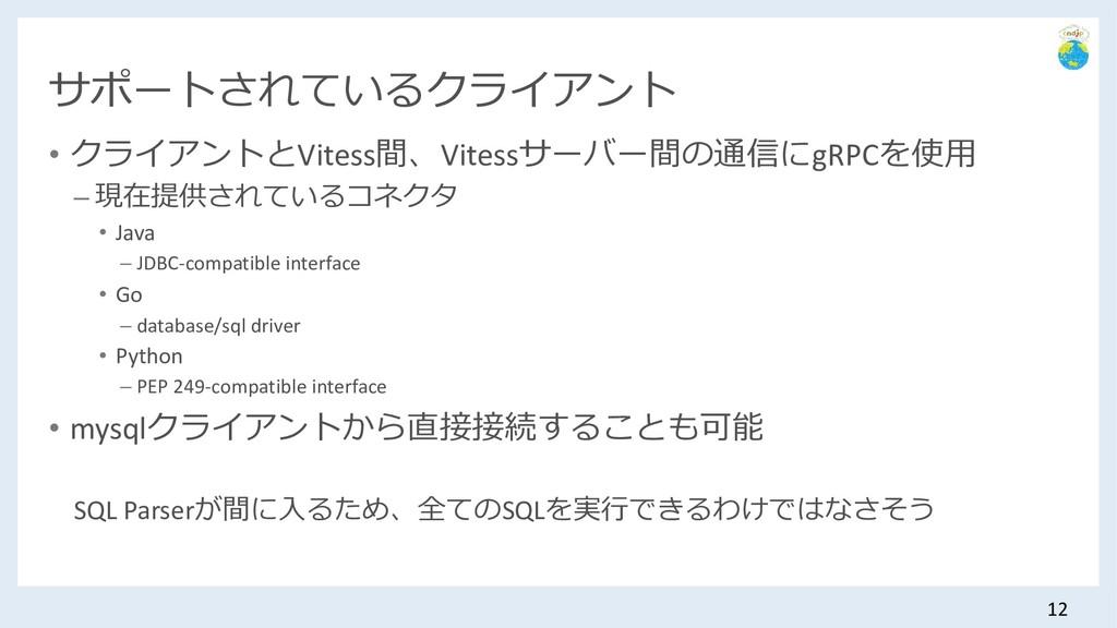 サポートされているクライアント • クライアントとVitess間、Vitessサーバー間の通信...