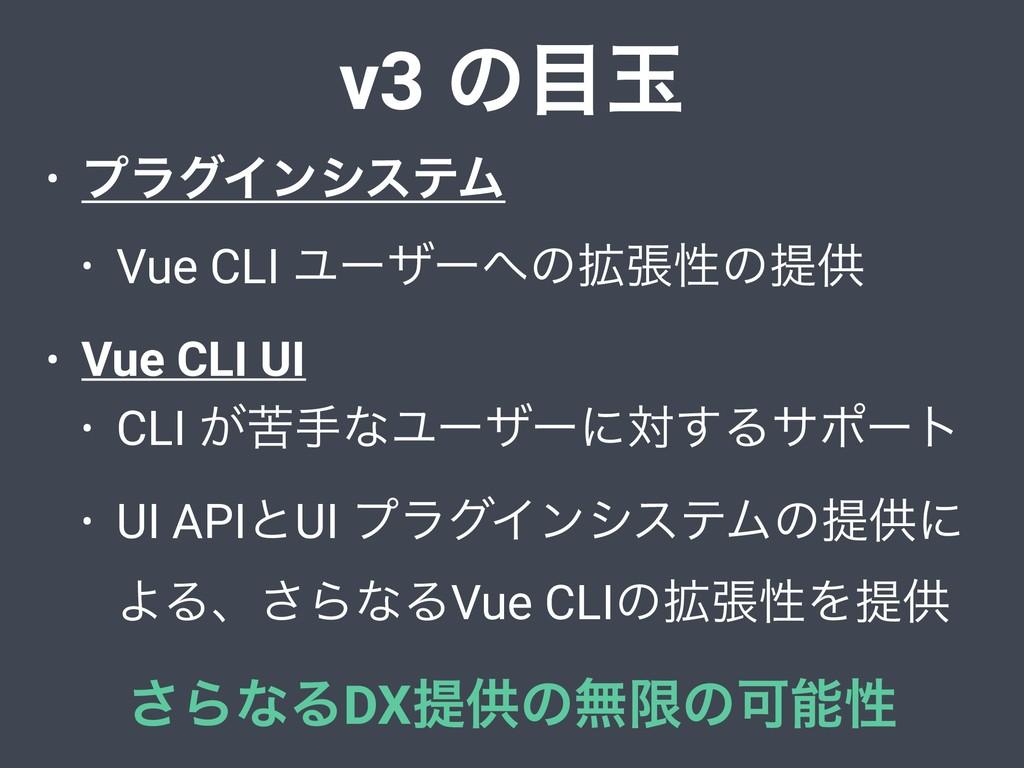 v3 ͷۄ • ϓϥάΠϯγεςϜ • Vue CLI Ϣʔβʔͷ֦ுੑͷఏڙ • Vue...
