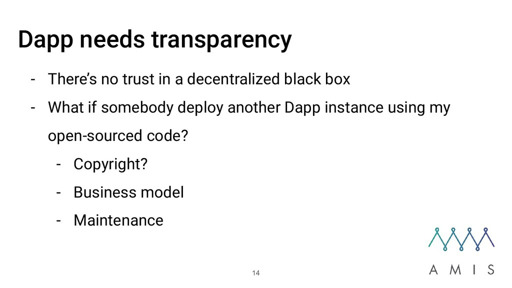 Dapp needs transparency - There's no trust in a...