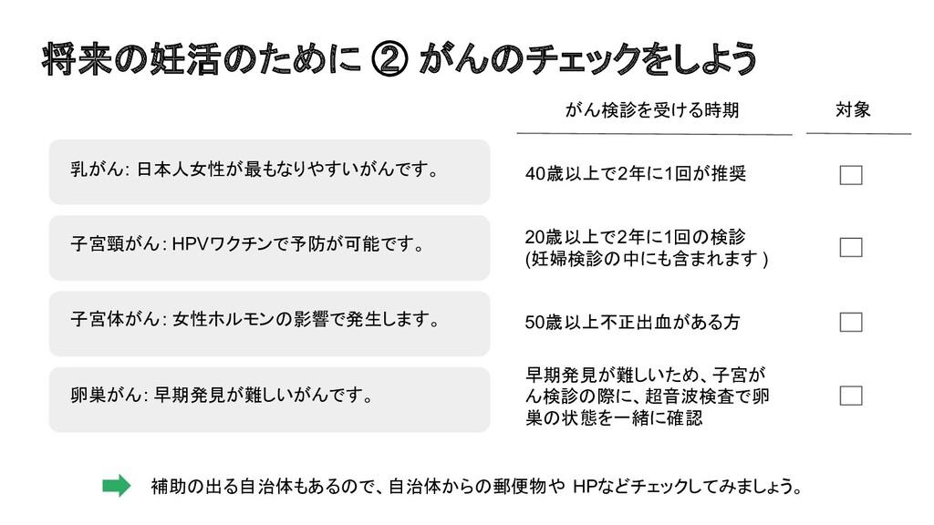 50歳以上不正出血がある方 将来の妊活のために ② がんのチェックをしよう 乳がん: 日本人女...