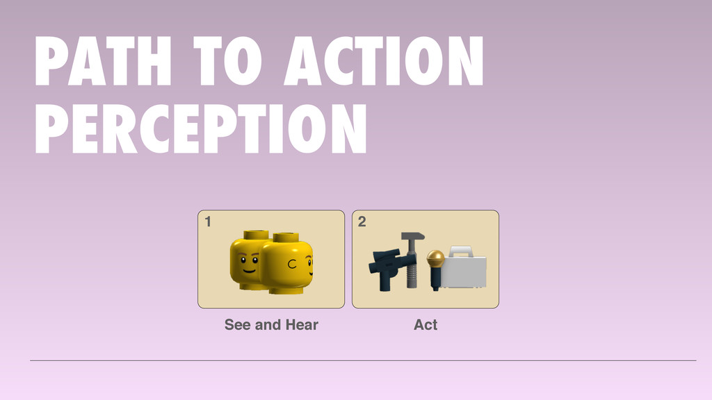 PATH TO ACTION PERCEPTION 1 See and Hear 2 Act