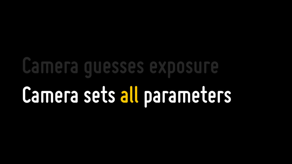 Camera guesses exposure Camera sets all paramet...