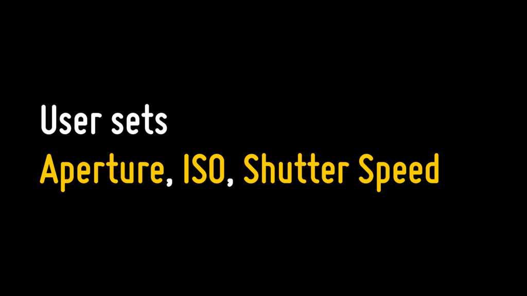 User sets Aperture, ISO, Shutter Speed