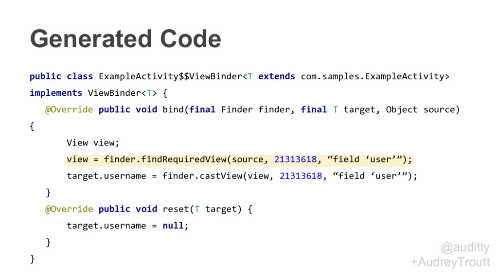 @auditty +AudreyTroutt Generated Code public cl...
