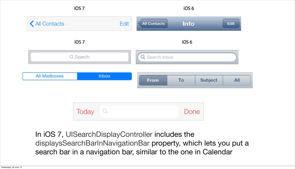 In iOS 7, UISearchDisplayController includes th...