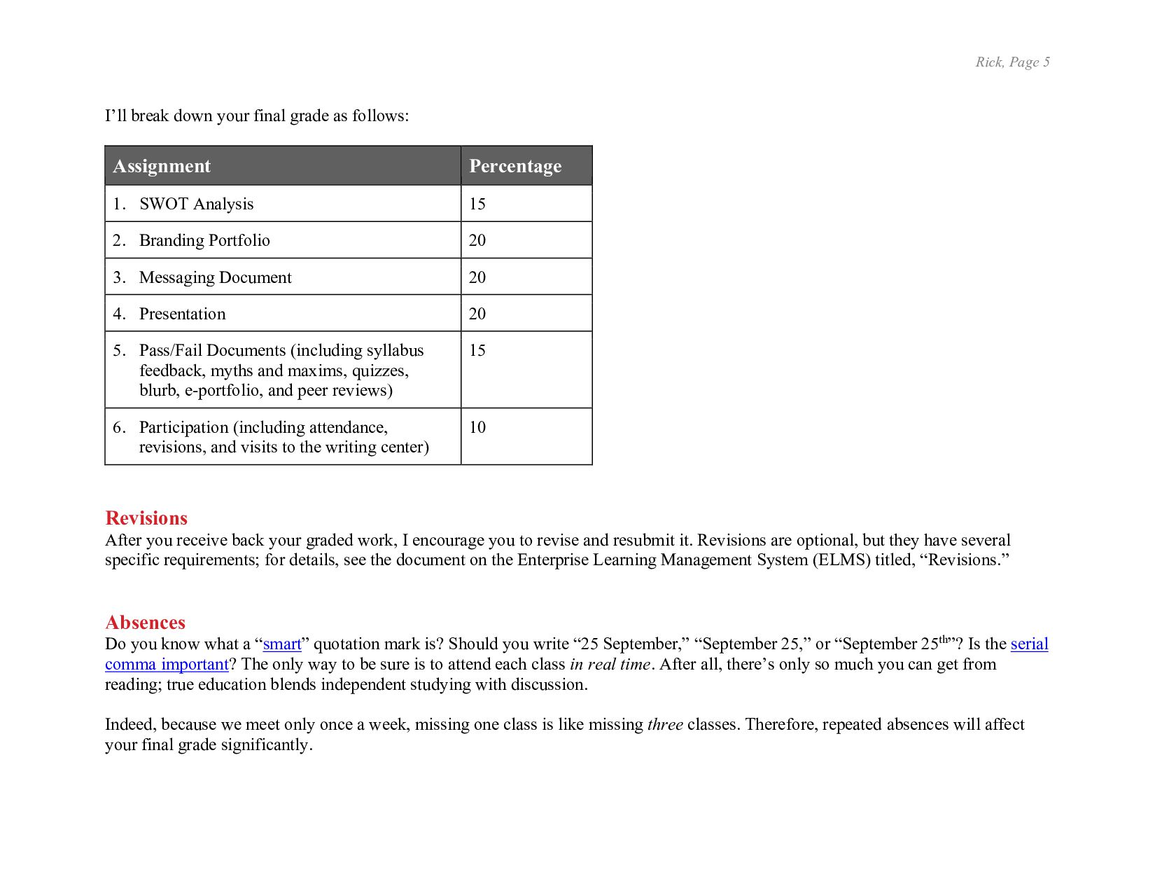 Rick, Page 5 Pass/Fail Documents (including syl...