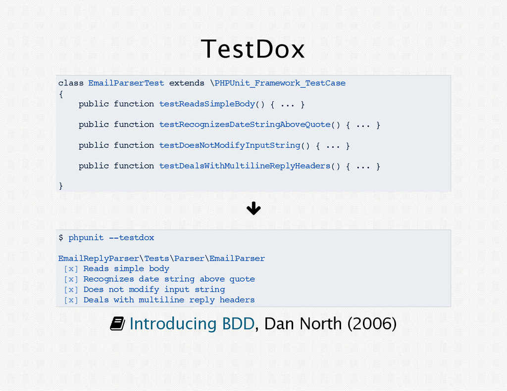 TestDox class EmailParserTest extends \PHPUnit_...