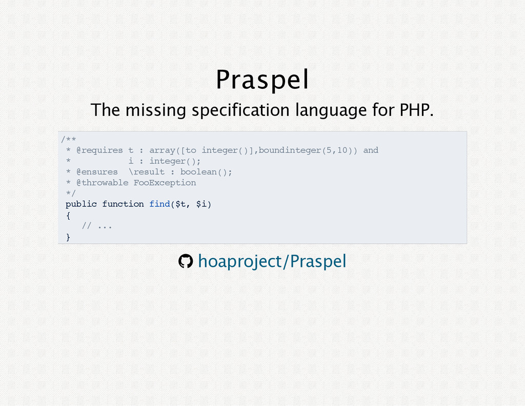 Praspel The missing specification language for ...