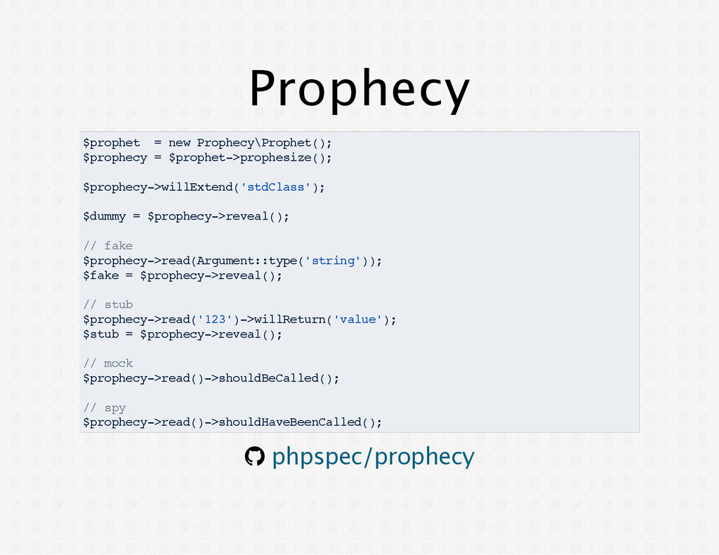 Prophecy $prophet = new Prophecy\Prophet(); $pr...