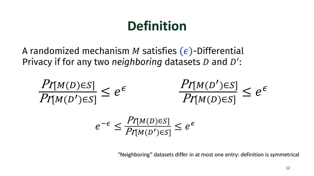 Definition 12 A randomized mechanism ! satisfie...