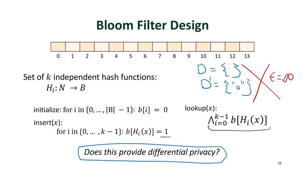 Bloom Filter Design 26 0 1 2 3 4 5 6 7 8 9 10 1...