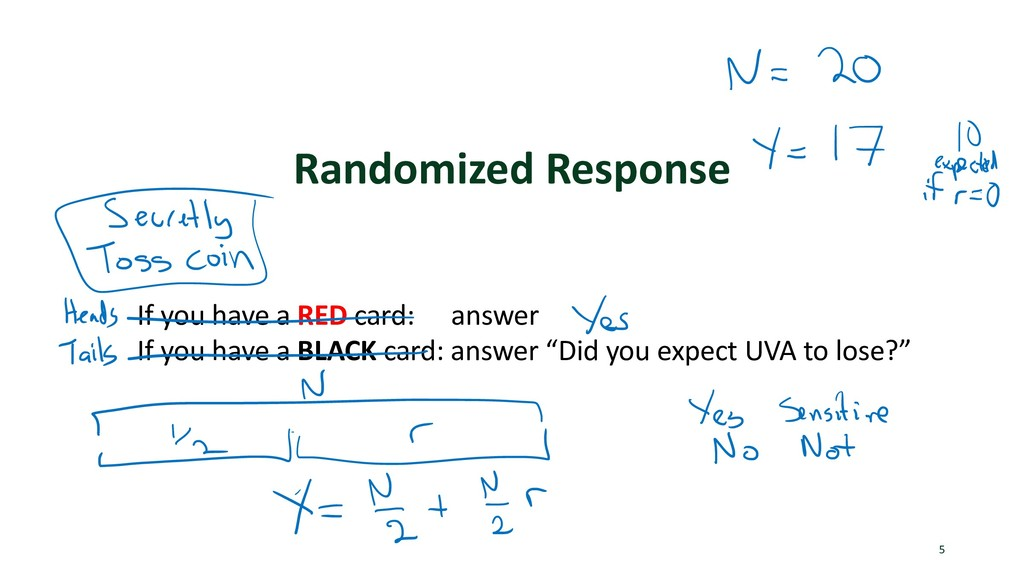 Randomized Response 5 If you have a RED card: a...