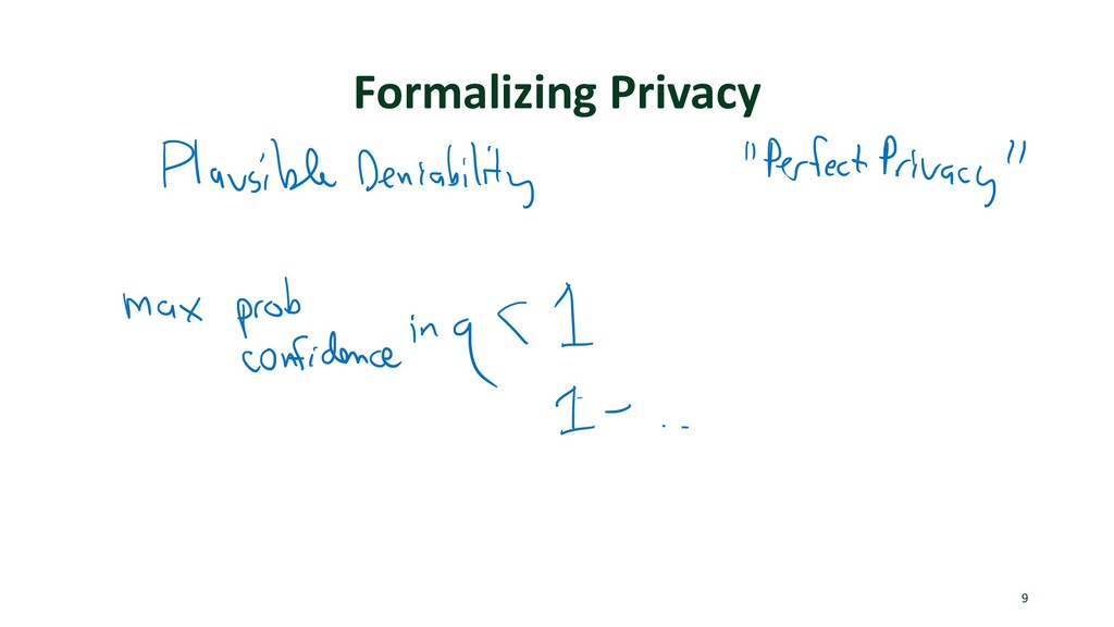 Formalizing Privacy 9