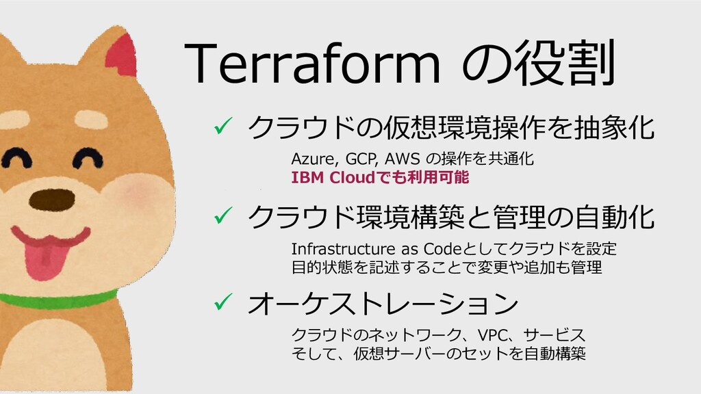 Terraform の役割 ✓ クラウドの仮想環境操作を抽象化 Azure, GCP, AWS...