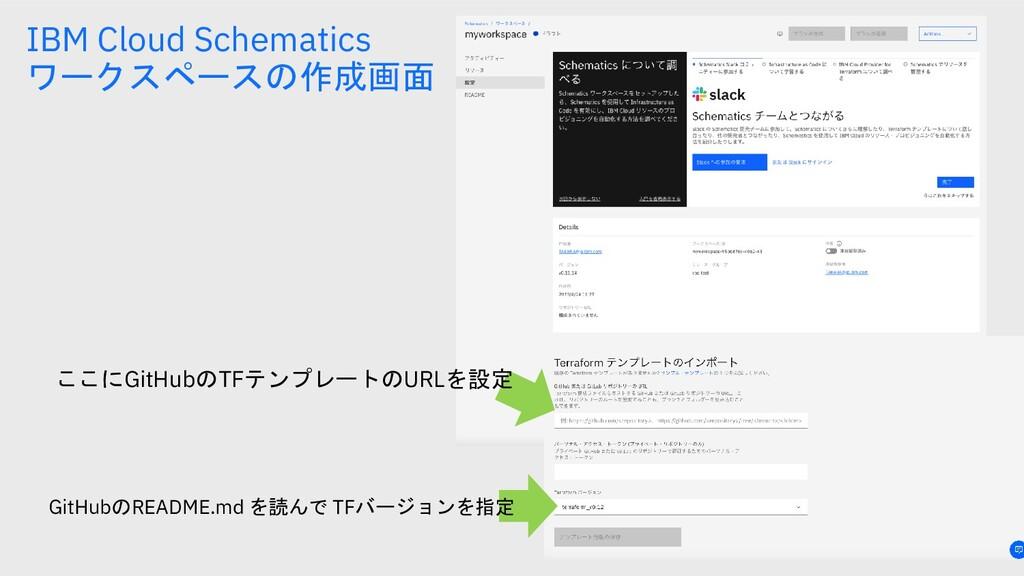 IBM Cloud Schematics ワークスペースの作成画面 ここにGitHubのTFテ...