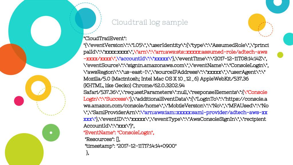 """Cloudtrail log sample """"CloudTrailEvent"""": """"{\""""ev..."""
