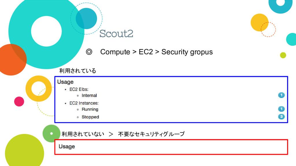Scout2 ◎ Compute > EC2 > Security gropus 利用されてい...