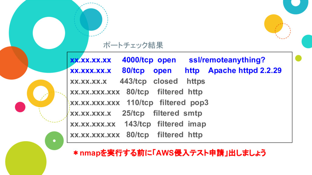 ポートチェック結果 xx.xx.xx.xx 4000/tcp open ssl/remotea...