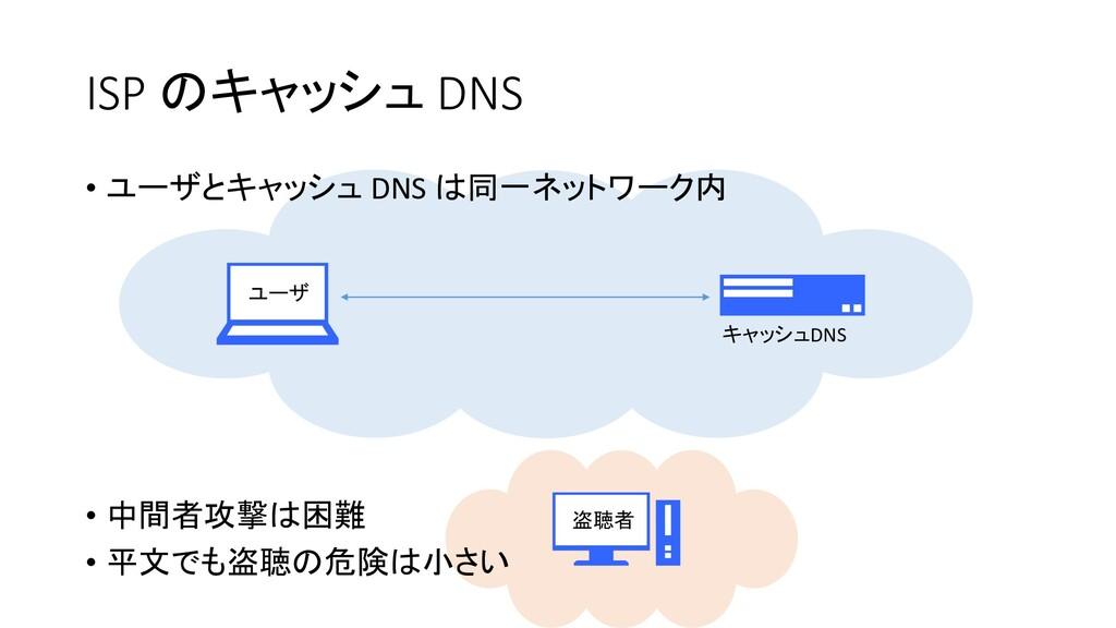 ユーザ キャッシュDNS 盗聴者 ISP のキャッシュ DNS • ユーザとキャッシュ DNS...