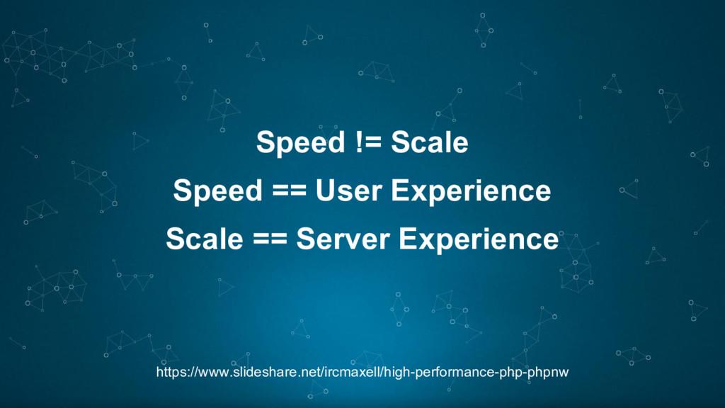 Speed != Scale https://www.slideshare.net/ircma...