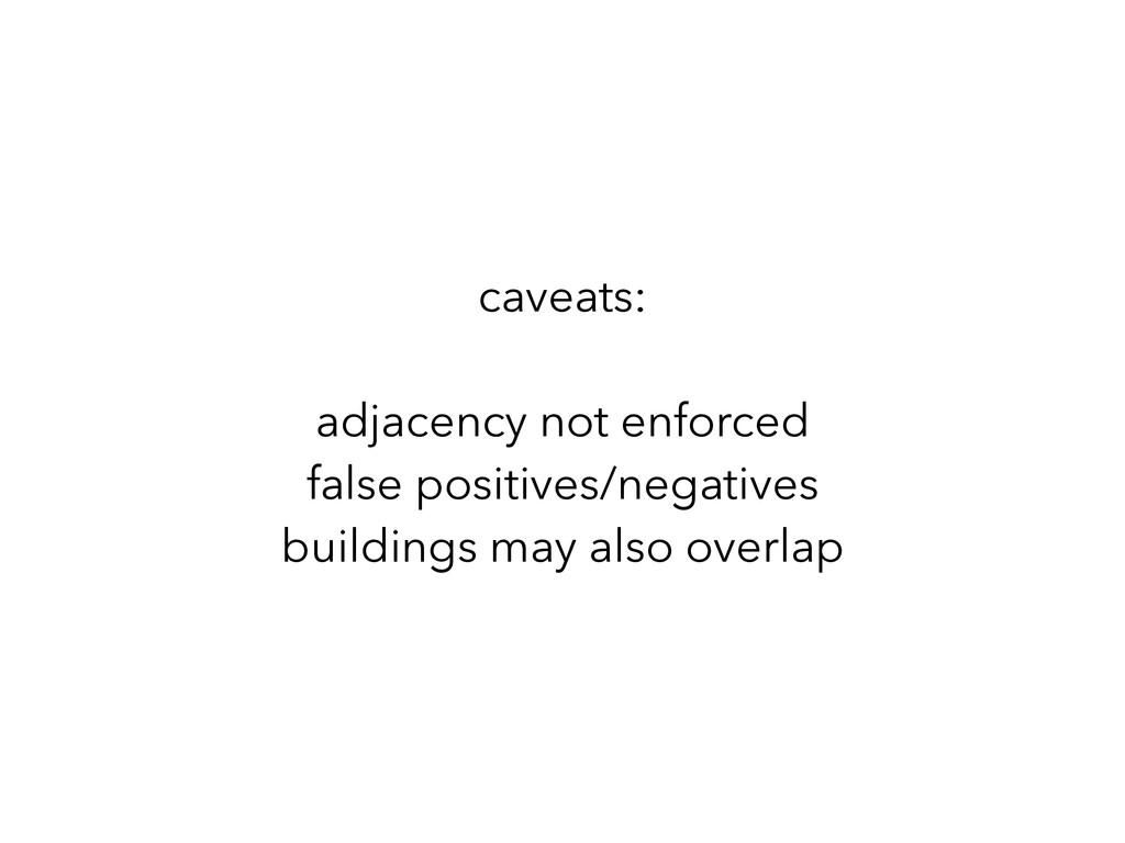 caveats: ! adjacency not enforced false posit...
