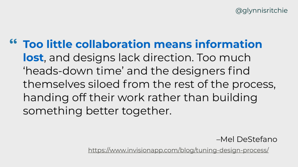 @glynnisritchie Too little collaboration means ...