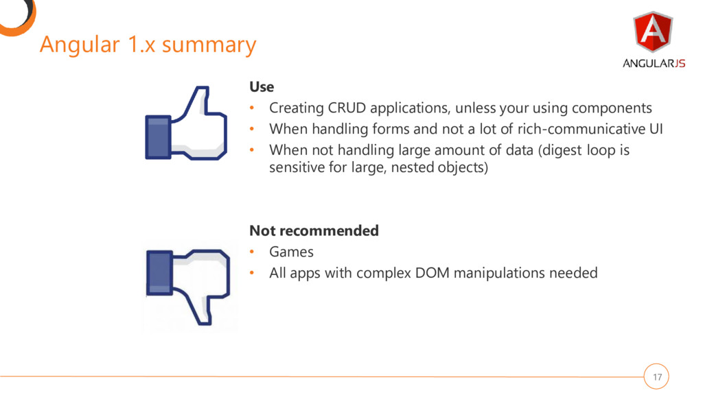 Angular 1.x summary 17 Use • Creating CRUD appl...