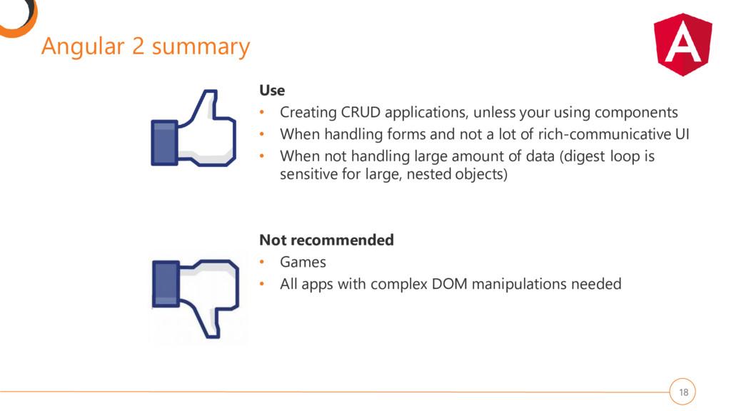 Angular 2 summary 18 Use • Creating CRUD applic...