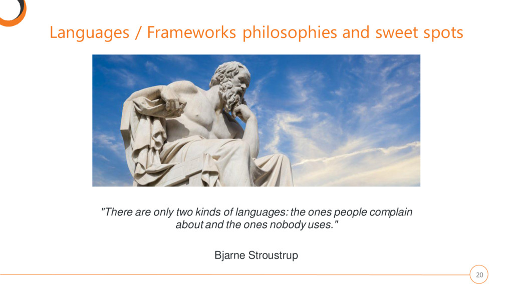 Languages / Frameworks philosophies and sweet s...