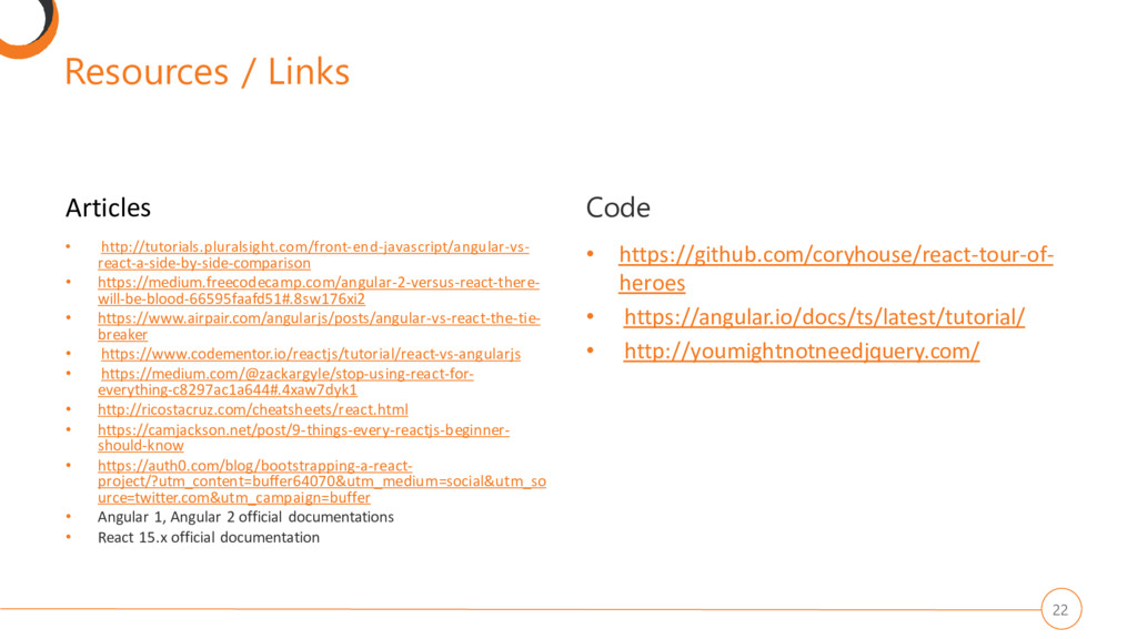 Resources / Links Articles • http://tutorials.p...