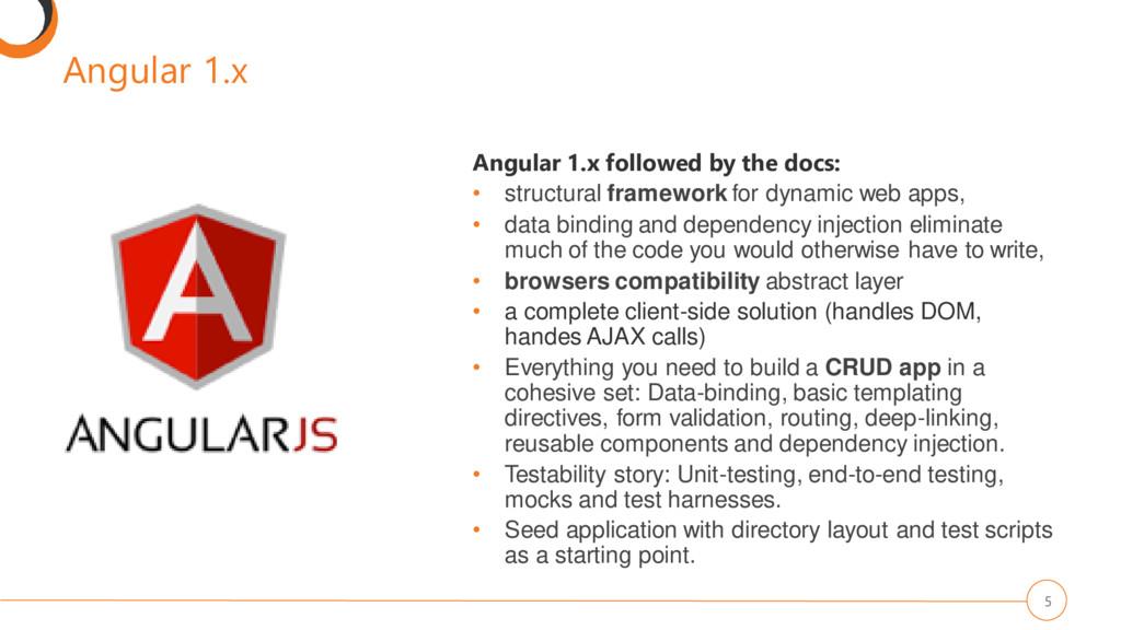 Angular 1.x 5 Angular 1.x followed by the docs:...