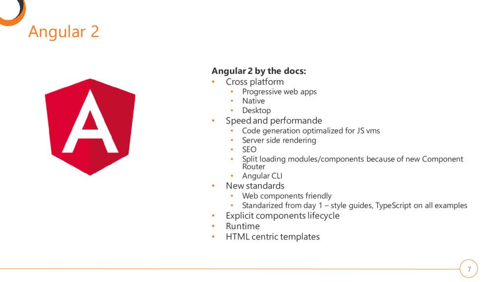 Angular 2 7 Angular 2 by the docs: • Cross plat...