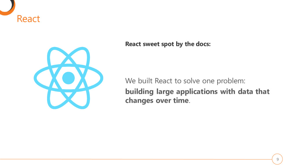 React 9 React sweet spot by the docs: We built ...