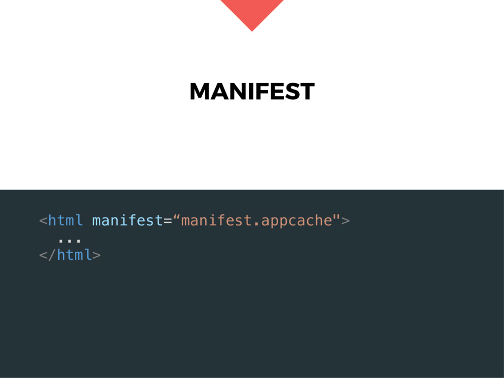 "MANIFEST <html manifest=""manifest.appcache""> ....."