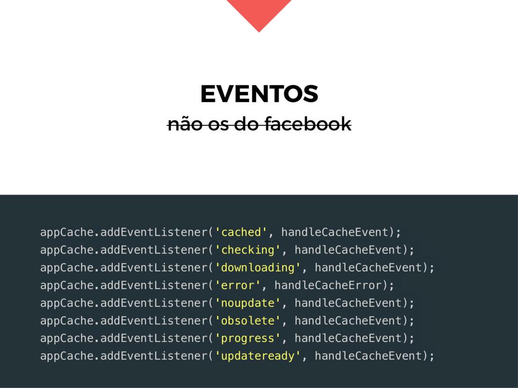 EVENTOS não os do facebook appCache.addEventLis...