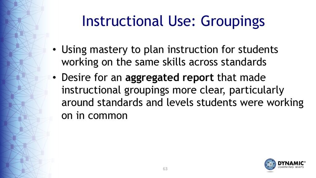 63 Instructional Use: Groupings • Using mastery...