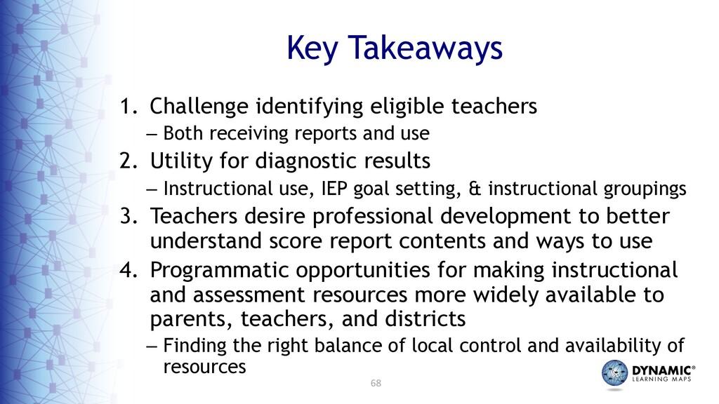 68 Key Takeaways 1. Challenge identifying eligi...